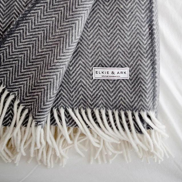 Charcoal Grey, Pure Wool Throw