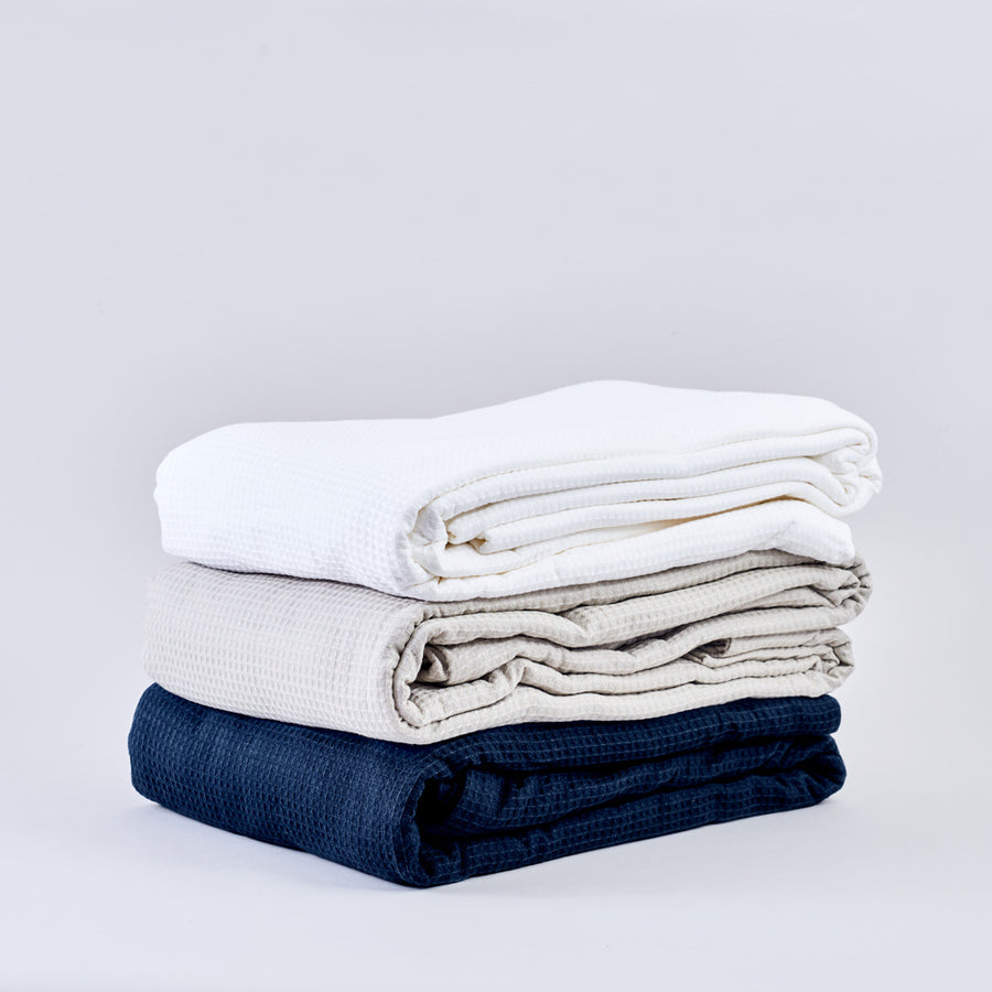 Navy Blue Cotton Waffle Throw