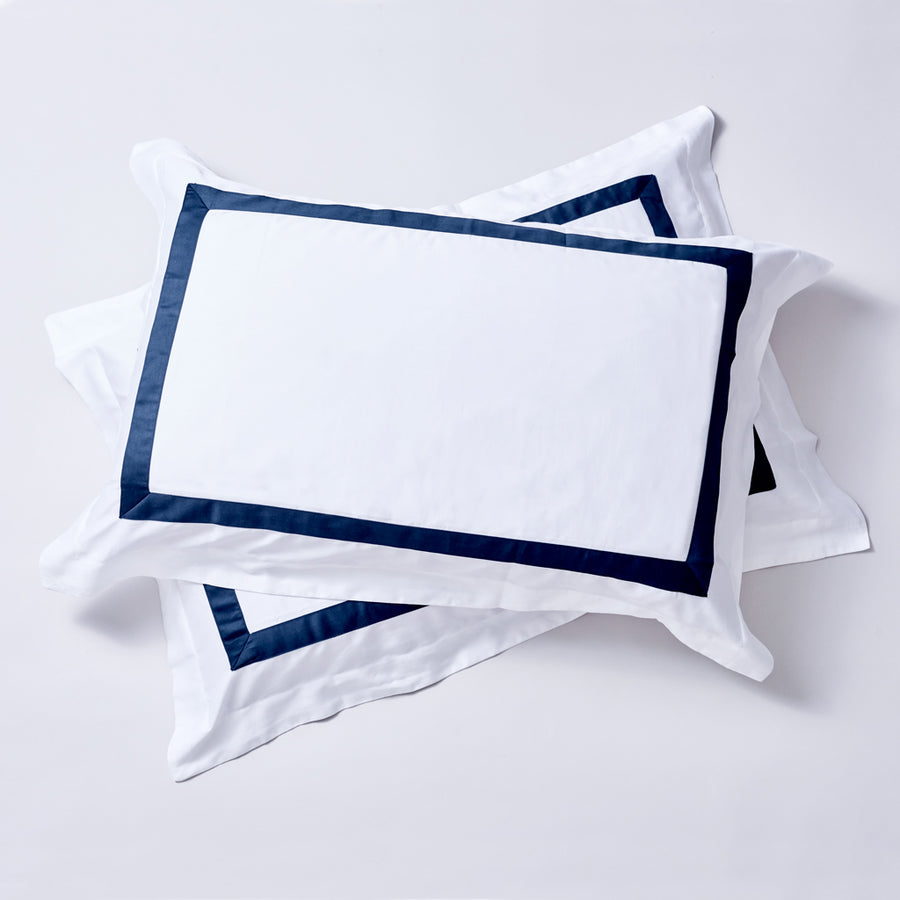 The Hotel Series - Organic Cotton Quilt Cover Sets - Navy Blue Trim