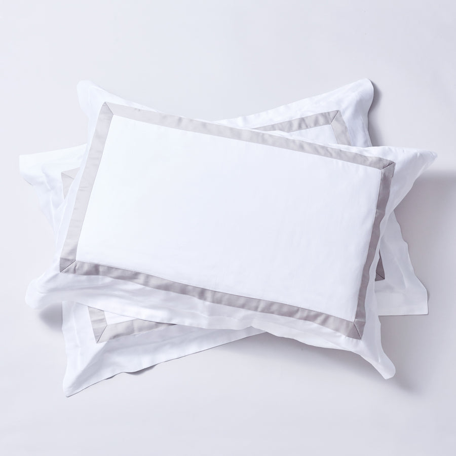 The Hotel Series - Organic Cotton Quilt Cover Sets - Dove Grey Trim