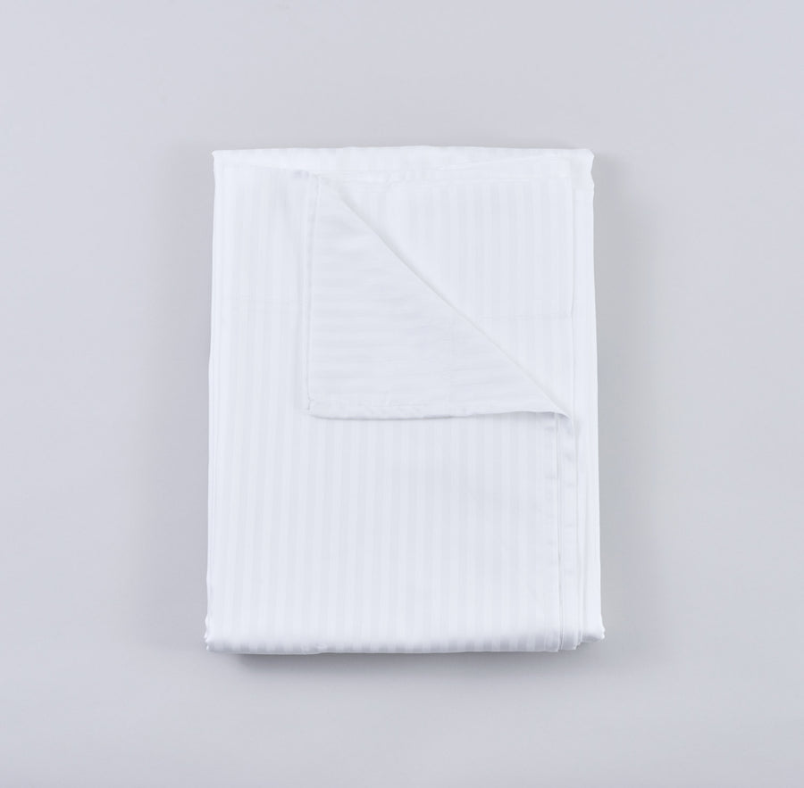 Organic Cotton Sateen Sheet Set in White Stripe
