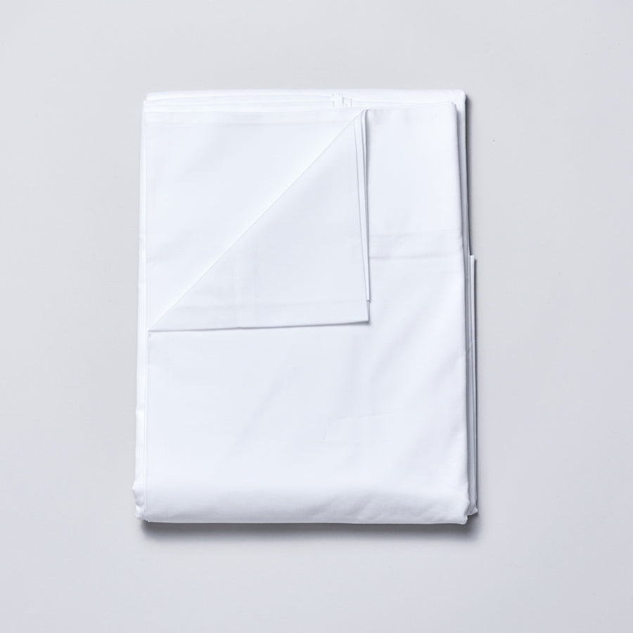 Organic Cotton Sateen Sheet Set in Cloud White