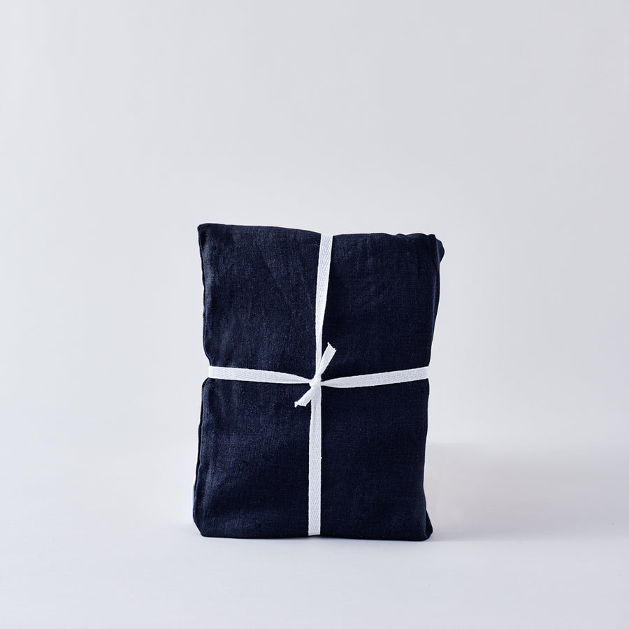 Organic Belgian Linen European Fringed Pillowcase in Midnight Navy