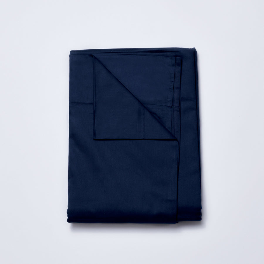 Organic Cotton Sateen Sheet Set in Midnight Navy