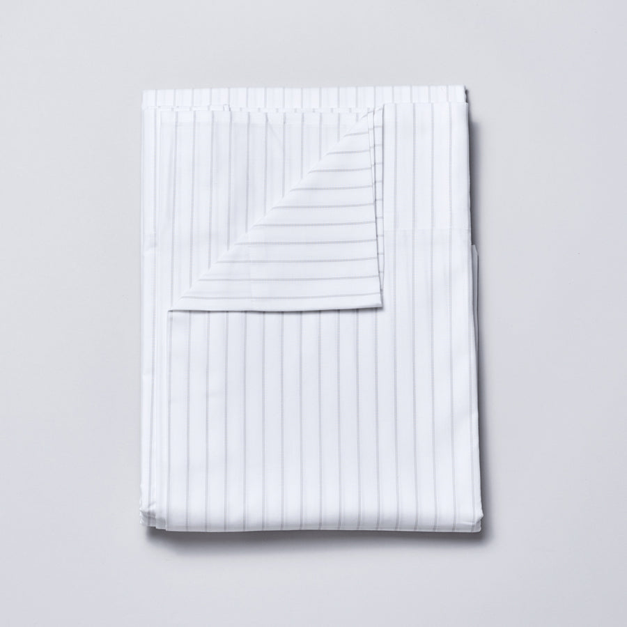 Organic Cotton Sheet Set in Grey Pinstripe