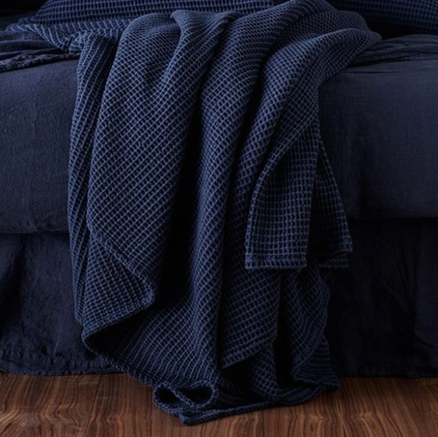 Navy Blue Cotton Waffle Blanket