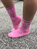 Pink Athletic Crew Socks
