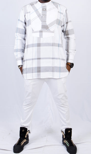White and Grey Plaid Etibo - Omenka