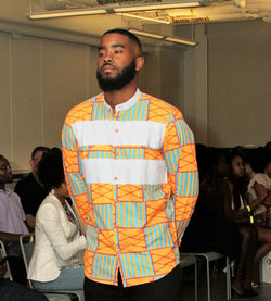 Kente and Denim Long Sleeve Button Up Shirt - Omenka