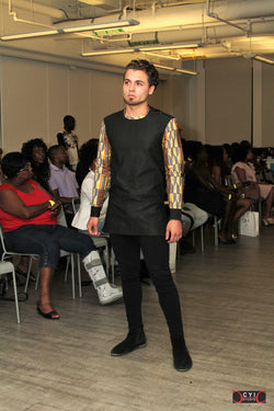 Long Sleeve Black Tunic & Kente Sleeves Shirt - Omenka