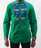 Green Shirt w/ Tribal Pattern - Omenka