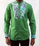 Pale Green Shirt w/ Leaves Pattern - Omenka