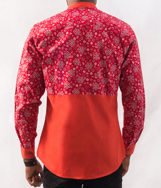 Paisley Patterned Shirt w/ Orange - Omenka