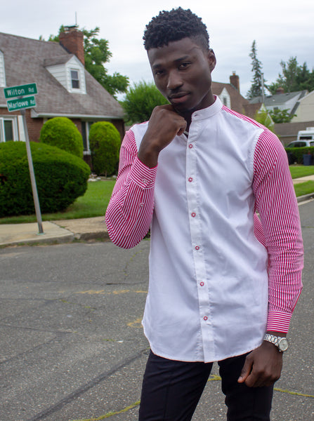White on Red and White Stripes Button up - Omenka