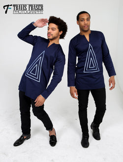 Navy Blue Triangle Tunic - Omenka
