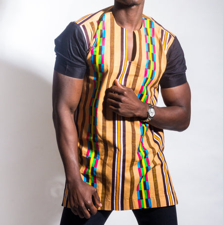 Denim and Kente Long Sleeve Button Up Shirt