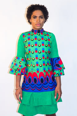 Green Colorful Pattern Dress - Omenka