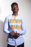 Denim and Kente Long Sleeve Button Up Shirt - Omenka