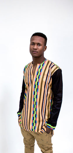 Long Sleeve Kente Tunic Shirt - Omenka