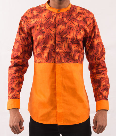 Paisley Patterned Shirt w/ Orange