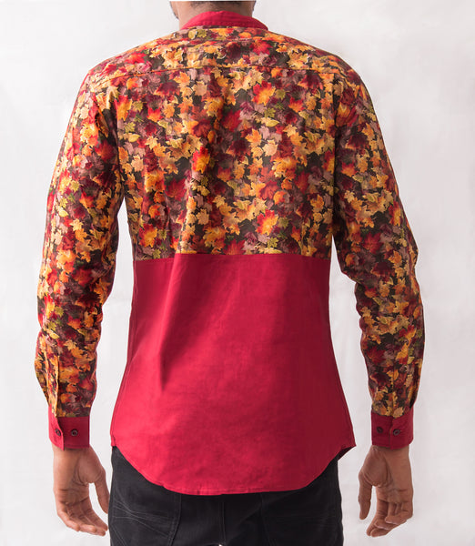 Fall Leaves Patterned Shirt - Omenka