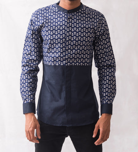 Split Nature Long Sleeve Button Up Shirt