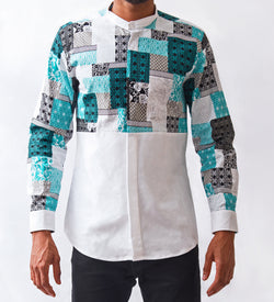Quilt Patch Patterned Shirt - Omenka