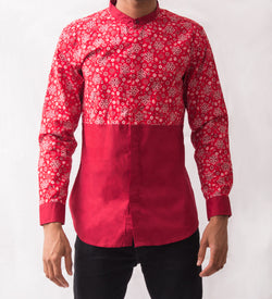 Paisley Patterned Shirt w/ Red - Omenka