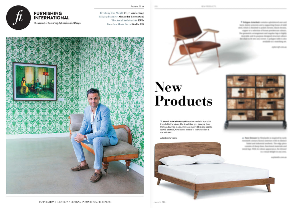 Dellis Furniture 'Scandi' Bed featured in Furnishing International Magazine
