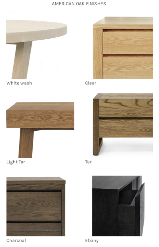 American Oak Standard Finishing Options