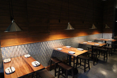 Custom Solid Blackwood Timber Tops with Metal Bases for Cafe Mint in Surry Hills