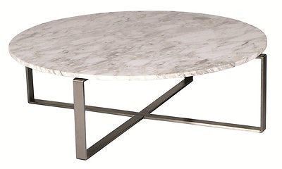 White Marble Round Coffee Table - Dellis Furniture  - 1