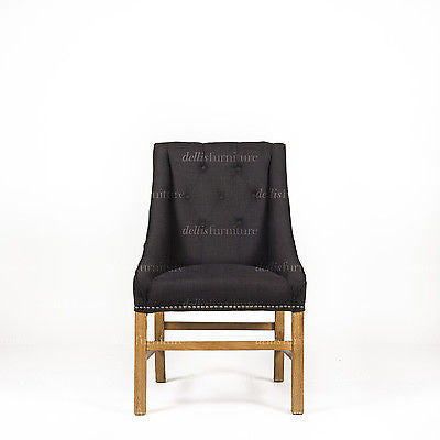 Hennessy Buttoned Back XL Dining Chair - Dellis Furniture Black Linen - 2