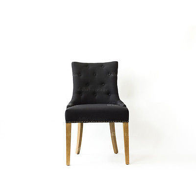 Monte Buttoned Curved Back Chair - Dellis Furniture Black Linen - 5