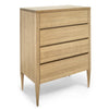 Deco Chest of Drawers - Dellis Furniture 4 Drawer Tallboy 900X480X1255 / American Oak / Clear Lacquer - 7