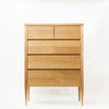 Deco Chest of Drawers - Dellis Furniture 5 Drawer Split Top Tallboy 900X480X1255 / American Oak / Clear Lacquer - 1