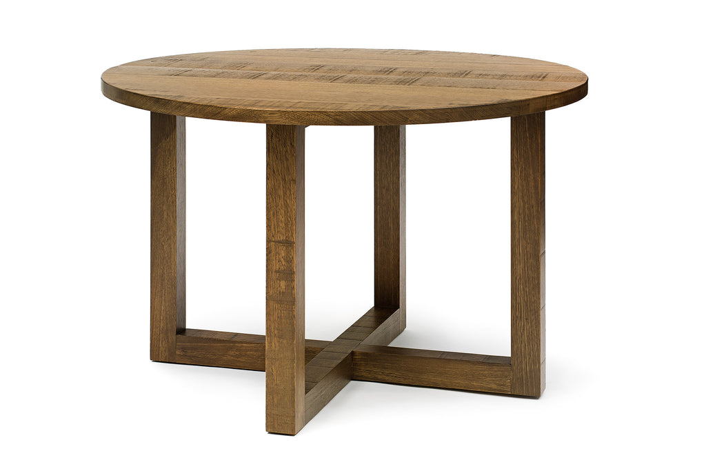 Round Thick Cross Leg Dining Table - Dellis Furniture 1200 Dia x 760 / Tasmanian Oak / Whitewash