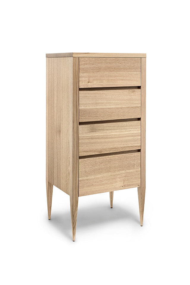 Deco Chest of Drawers - Dellis Furniture 4 Drawer Tallboy 600 x 450 x 1255 / Tasmanian Oak / Clear Lacquer - 5