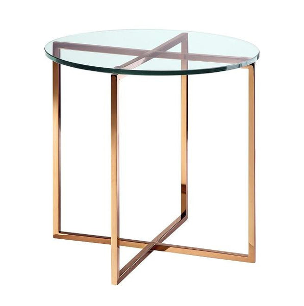 Elle Round Crossed Leg Side Table - Dellis Furniture