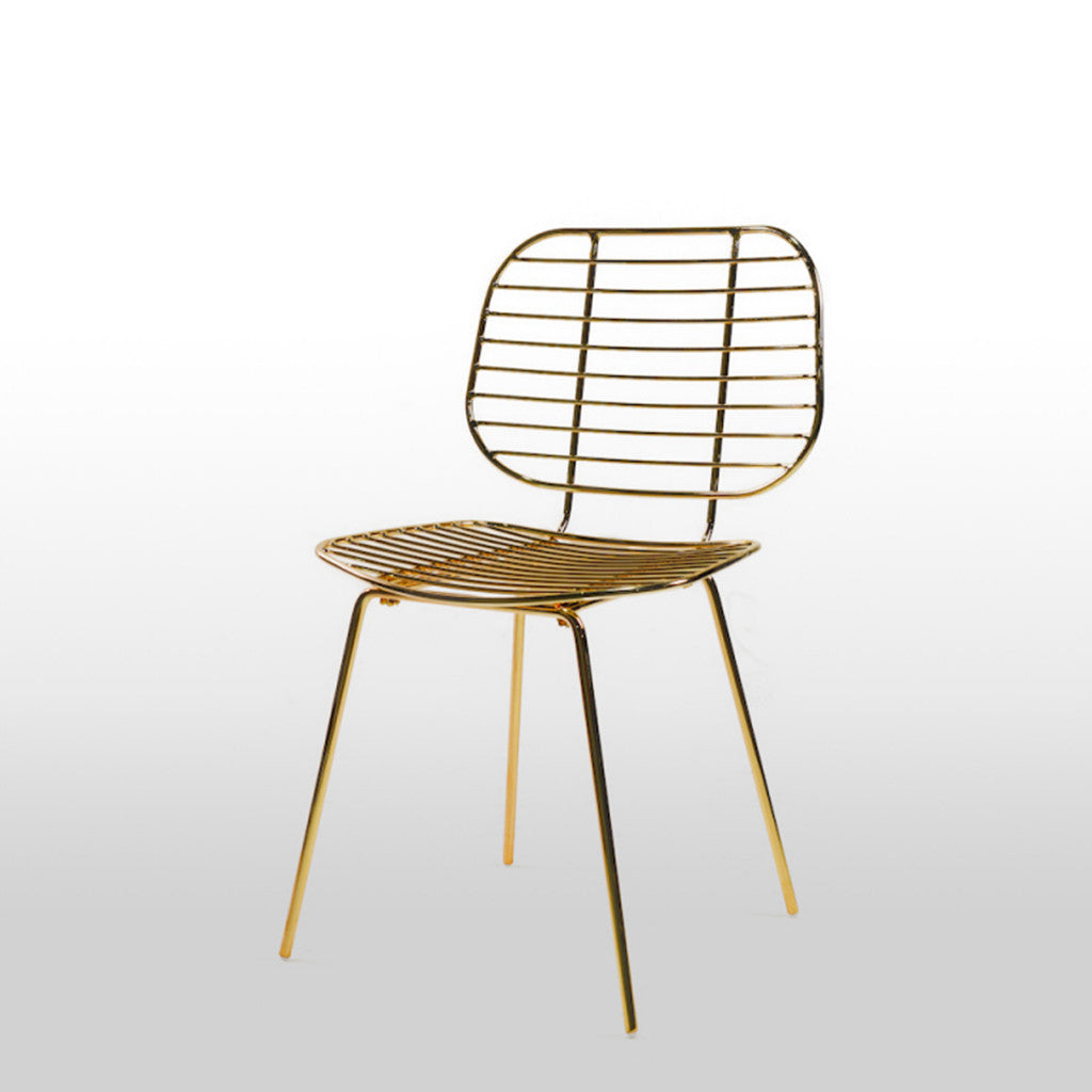 Lotti gold wire dining chair dellis furniture