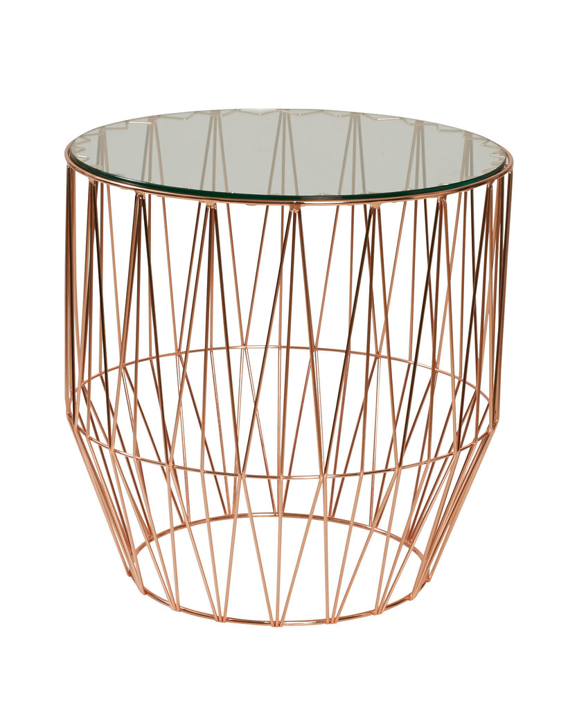 Tribeca Rose Gold Round Side Table - Dellis Furniture