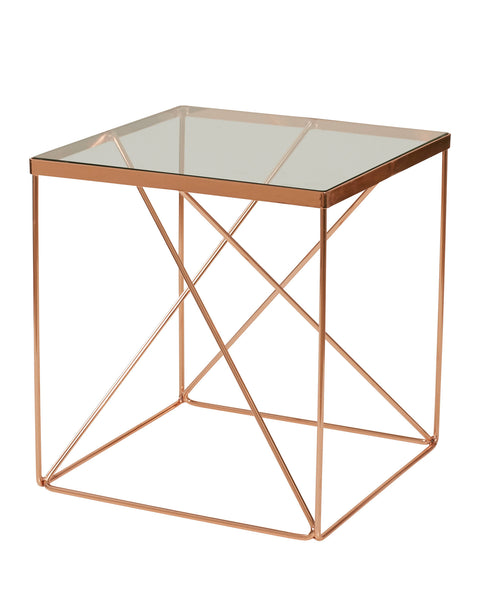 Tribeca Rose Gold Cube Side Table - Dellis Furniture