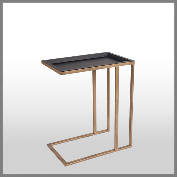 Tom Gold & Black Side Table With Removable Tray