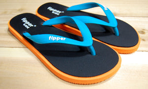 Black Orange Sole Turquoise Strap Fipper Wide Comfortable Natural Rubber Flip Flops for Men Biodegradable Vegan Friendly