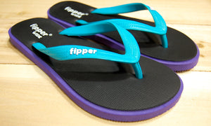 Black Purple Sole Turquoise Strap Fipper Wide Comfortable Natural Rubber Flip Flops for Men Biodegradable Vegan Friendly