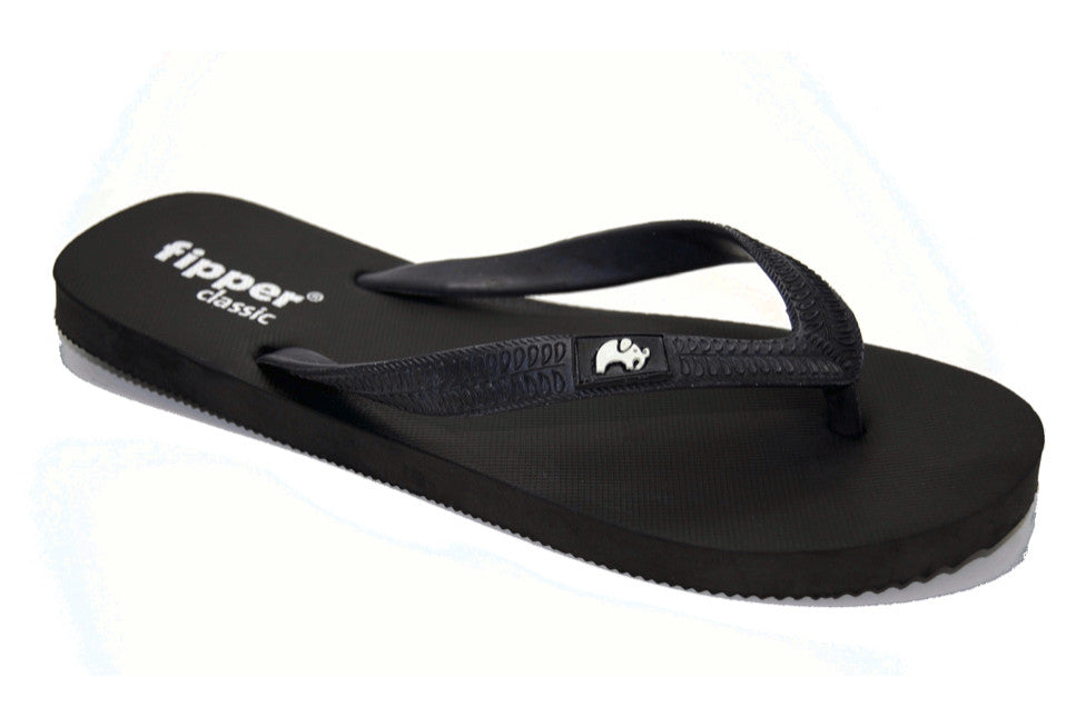 Fipper Classic - Black - Comfortable Natural Rubber Flip Flops for Men and Women Biodegradable Vegan Friendly