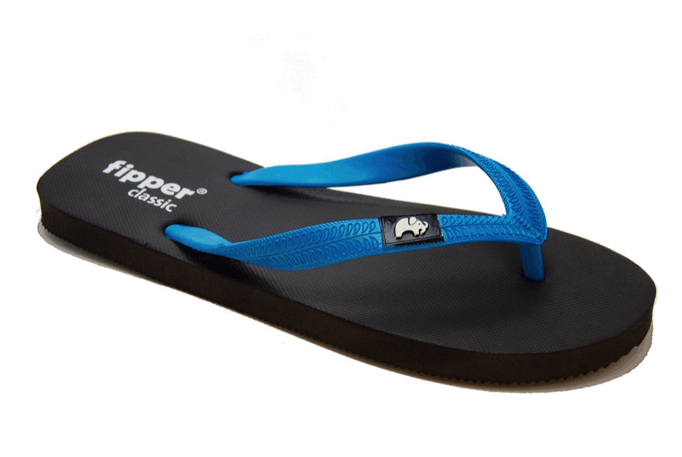 a70f8058887236 Fipper Classic - Black Sky Blue - Comfortable Natural Rubber Flip Flops for  Men and Women