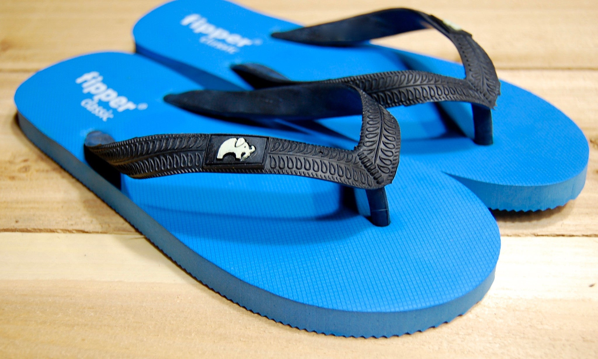 Blue Sole Black Strap Fipper Classic Comfortable Rubber Flip Flops for Men and Women Biodegradable Vegan Friendly