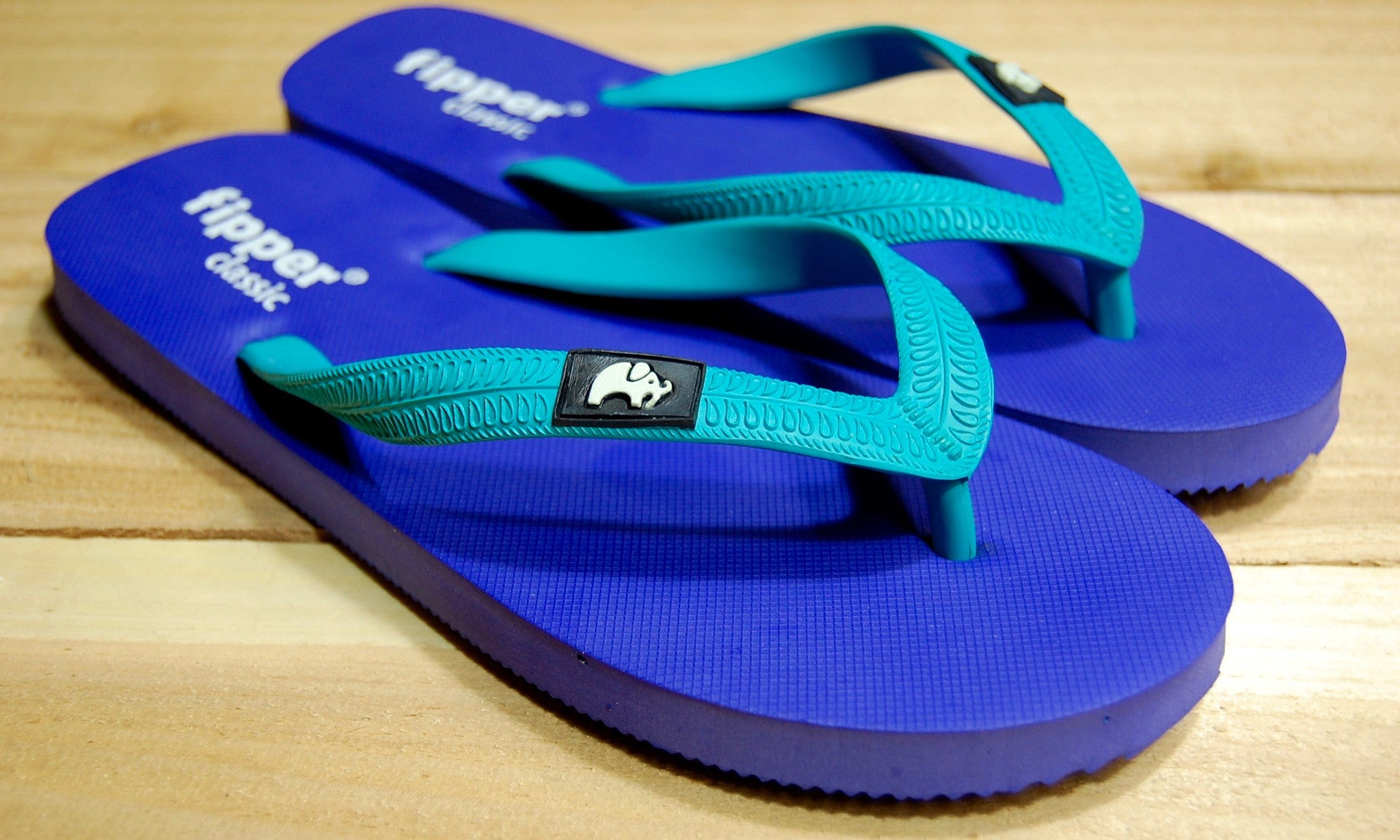Purple Sole Turquoise Strap Fipper Classic Comfortable Natural Rubber Flip Flops for Men and Women Biodegradable Vegan Friendly