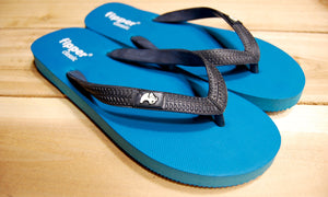 Dark Turquoise Sole Black Strap Fipper Classic Comfortable Natural Rubber Flip Flops for Men and Women Biodegradable Vegan Friendly